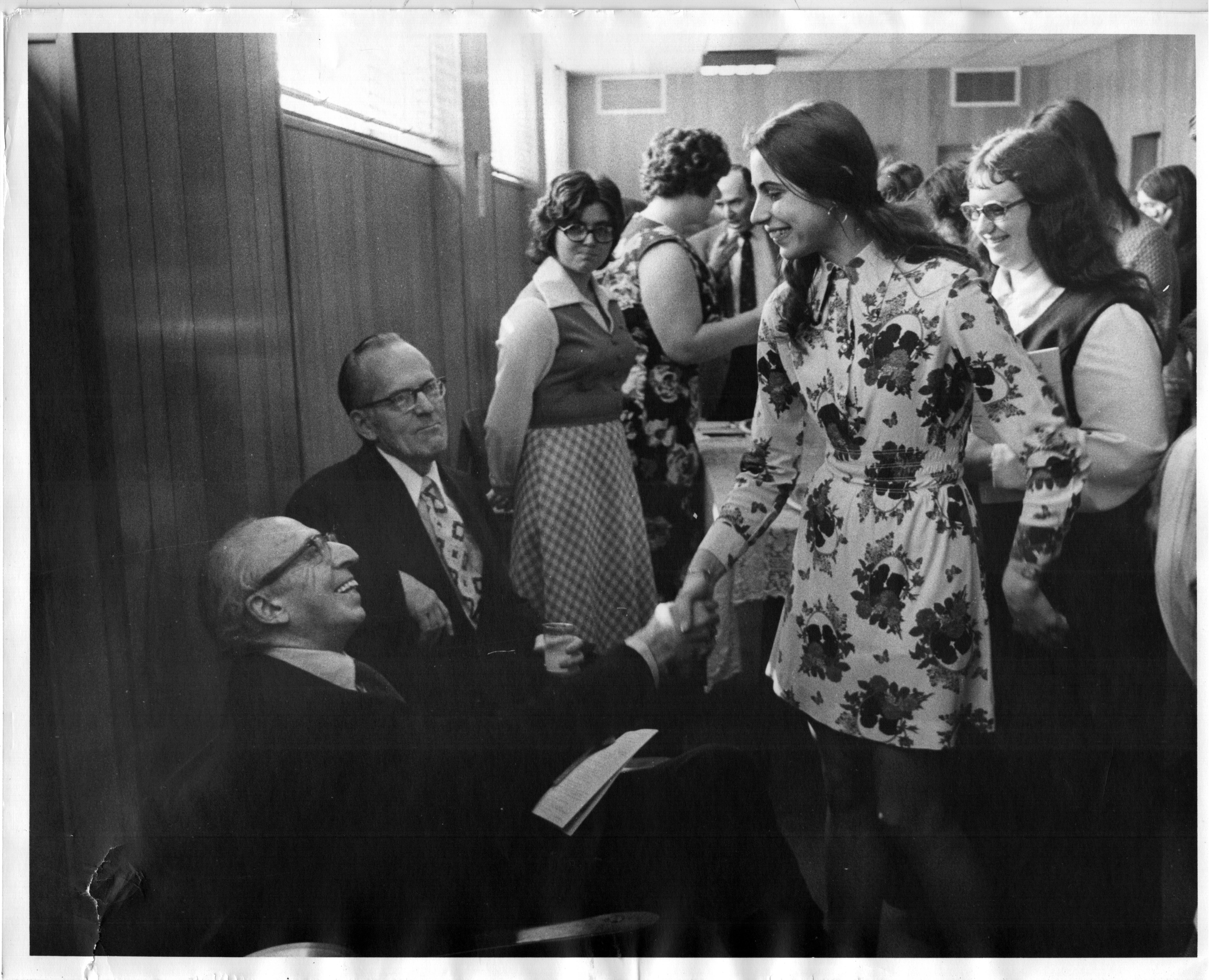 Aaron Copland at WCSU in 1975, being greeted by Sharon Henderson